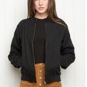 Brandy Melville black cotton bomber jacket